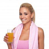 Attractive Blonde With Orange Juice And Towel Around The Neck
