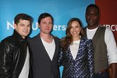 LOS ANGELES - JAN 19:  Kevin BIgley, Bob Fisher, Jessica McNamee, Kevin Daniels at the NBC TCA Winter 2014 Press Tour at Langham Huntington Hotel on January 19, 2014 in Pasadena, CA