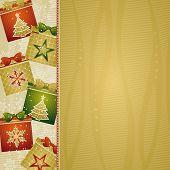Fondo de Navidad con regalos, vector illustration