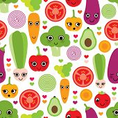 Seamless happy vegetables food fun illustration background pattern in vector