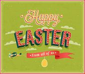 stock photo of oval  - Happy Easter typographic creative design - JPG
