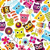stock photo of owls  - Seamless and Tileable Vector Owl Background Pattern - JPG