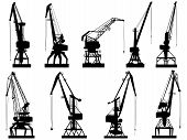 Vector Silhouettes Of Cargo Crane Tower.