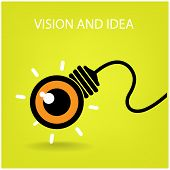 Vision And Ideas Sign,eye Icon And Business Symbol, Light Bulb Symbol