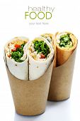 picture of sandwich wrap  - tortilla wraps with chicken and fresh vegetables isolated on white  - JPG