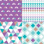 Seamless geometric collection set pastel background pattern texture in vector