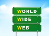 3D World Wide Web Road Sign