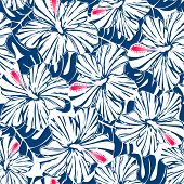 Blue Tropical Hibiscus And Palm Seamless Pattern
