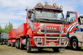 Red Sisu Trailer Truck For Construction