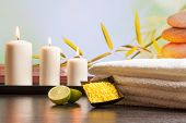 Spa Massage Border Background With Towel Stacked Sea Salt Candles And Lime