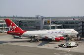 Virgin Atlantic Boeing 747 at the gate at the Terminal 4 in JFK Airport in NY