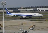 All Nippon Airways Boeing 777 taxing in JFK Airport in NY