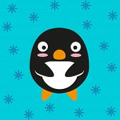Cute kawaii penguin. Flat design.