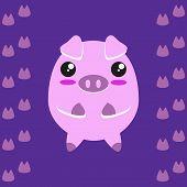 Cute kawaii piggy.
