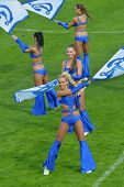 MOSCOW, RUSSIA - JULY 21, 2014: Cheer-dance group Dynamite on the Opening Ceremony of the Internatio