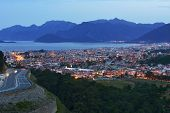 MARMARIS, TURKEY - APRIL 23, 2014: Night view to the city and the bay. City population increases 10