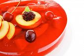 sweet cold red jelly pie with apricot and watermelon