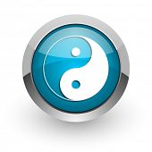 ying yang blue glossy web icon