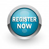 register now blue glossy web icon