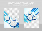 Blue brochure with circles