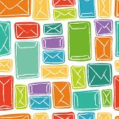 Vector seamless pattern - many colorful letters and envelopes