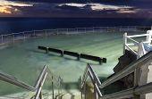 Bronte Pool, Lit Up At Dawn Before Sunrise
