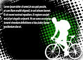 bicyclist on the abstract halftone background with space for text
