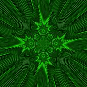 Green Glowing Fractal Rays Constellation Ornamental Decorative Star. A-0102.