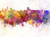 Birmingham Skyline In Watercolor Background