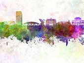 Ljubljana Skyline In Watercolor Background