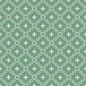 White And Green Fleur-de-lis Pattern Textured Fabric Background