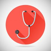Physician Therapist Care Survey Symbol Stethoscope Icon on Stylish Background Modern Flat Design Vec