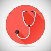 Physician Therapist Care Survey Symbol Stethoscope Icon on Stylish Background Modern Flat Design Vec