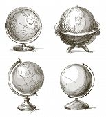 Set of hand drawn globes. Vector illustration.