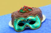 Mardi Gras Chocolate Doberge Cake With Mask