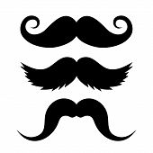 stock photo of goatee  - Set of Mustache on White Background - JPG
