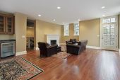 Foyer With Cherry Wood Floors