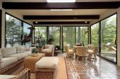 picture of screen-porch  - Sunroom in luxury home with patterned tile - JPG