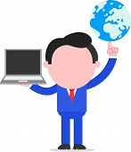 Businessman Holding Globe And Laptop