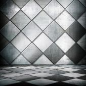 interior of metal grid background