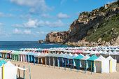 Colored Tents On The Beach, Nazare (portugal)
