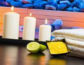 Spa Massage Border Background With Towel Stacked Candles Sea Salt And Lime