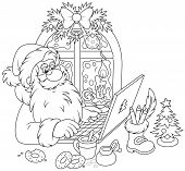 Santa Claus with his laptop