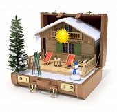 Ski cabin in the case