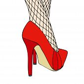 image of fishnet  - A woman in elegant red shoes and fishnet stockings - JPG