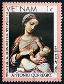 Postage Stamp Vietnam 1990 Madonna And Child, By Corregio