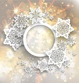 Golden holiday frame with snowflakes and lights.
