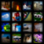 Mosaic backgrounds. Set of 16 square elements. Vector illustration. Eps8.
