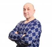 stock photo of tatar  - Middle aged smiling tatar man isolated on white background - JPG