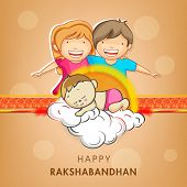 Cute little sister and brother holding hands with beautiful rakhi on shiny brown background for Raks